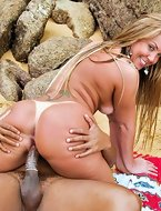 Alessandra came down the rocks. That's one exceedingly worthwhile ass! I love the golden-haired brazilians
